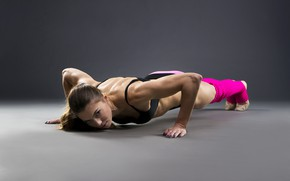 Picture look, girl, pose, makeup, figure, hairstyle, shorts, brown hair, knee, fitness, t-shirt, on the floor, ...