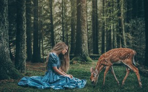 Picture forest, girl, kindness, hair, cute, the situation, dress, fawn, nymph