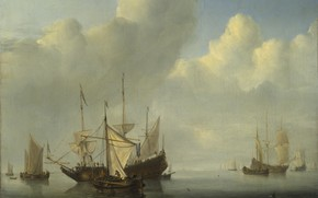 Picture ship, picture, sail, seascape, Willem van de Velde the Younger, A Dutch Ship coming to …