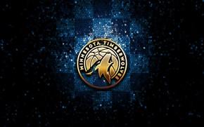 Picture wallpaper, sport, logo, basketball, NBA, glitter, checkered, Minnesota Timberwolves