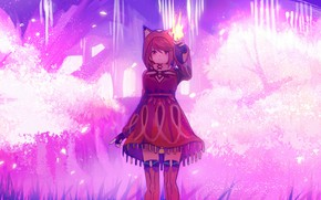Picture girl, trees, fiction, fire, Xenoblade, Pyra