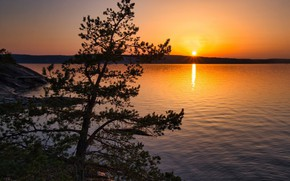 Picture Sunset, The sun, The sky, Lake