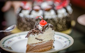 Picture food, chocolate, cake, cream, dessert, a piece of cake