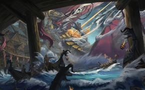 Picture Water, Figure, Dragon, Battle, Dragon, Art, Concept Art, Viking, The Vikings, Jinheng LI, By Jinheng …
