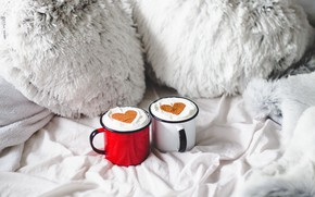 Picture comfort, coffee, morning, hearts, mugs, heart, morning, cup, coffee, cozy