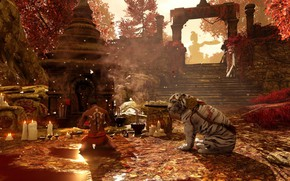 Picture candles, stage, temple, male, ruins, white tiger, tiger, sanctuary, Far Cry 4, autumn day, milita