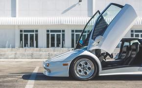 Picture White, Supercar, Lamborghini Diablo, Scissor doors