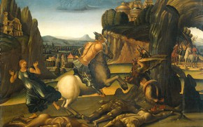 Picture oil, picture, mythology, 1505, Luca Signorelli, Luca Signorelli, St. George and the dragon