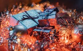 Picture balls, holiday, blur, Christmas, gifts, New year, tinsel, box, bokeh, Christmas decorations, новогодние декорации
