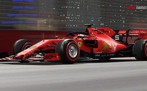 Picture speed, track, blur, racing car, red, on the track, Ferrari SF90, F1 2019