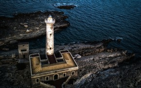 Picture sea, lighthouse, Italy, Sicily, Augusta