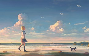 Picture beach, seagulls, girl