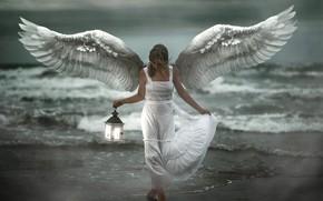 Picture sea, girl, shore, angel