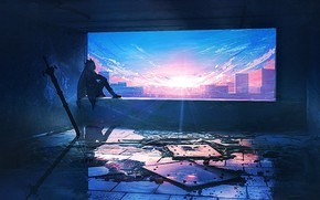 Picture girl, the city, dawn, sword, the window opening