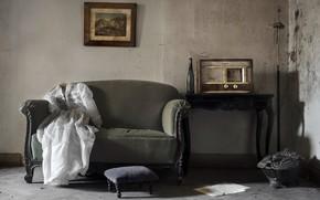 Picture room, sofa, radio