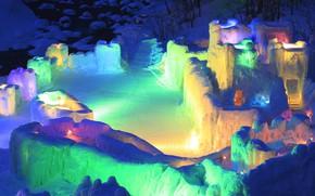 Picture winter, light, snow, lights, ice, Japan, Hokkaido, festival, Kamikawa, Sounkyo Ice Falls Festival