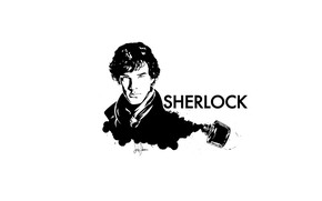 Picture white background, Sherlock Holmes, ink, Sherlock