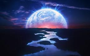 Picture Sunset, River, Planet, Style, Landscape, River, Landscape, Planet, Style, Sunset, Fiction, River, Illustration, Science Fiction, …