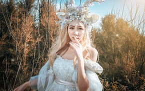 Picture look, girl, light, decoration, branches, nature, face, pose, style, portrait, hands, fairy, blonde, costume, outfit, …