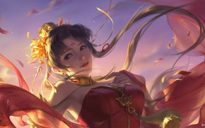 Picture look, the wind, petals, neckline, corset, red dress, long hair, suspension, flower in hair, against …