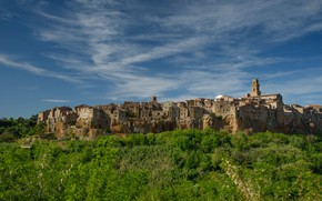 Picture home, Italy, Tuscany, the bell tower, Pitigliano
