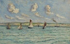 Picture picture, seascape, 1929, Maximilien Luce, Maximilien Luce, Honfleur. Sailboats and Tugs