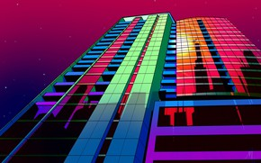 Picture Music, Style, Background, Chicago, 80s, Style, Neon, Illustration, Architecture, 80's, Synth, Retrowave, Synthwave, New Retro …