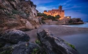Picture sea, lights, castle, rocks, shore, the evening