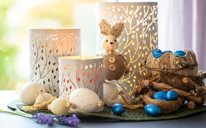 Picture light, toy, eggs, sticks, candles, rabbit, Easter, buttons, still life, items, bokeh, composition, candlesticks, tuesok