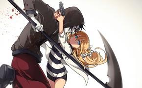 Picture girl, pair, braid, guy, Angel bloodshed, Satsuriku no Tenshi