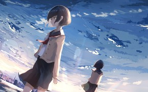 Picture the sky, girls, anime, art