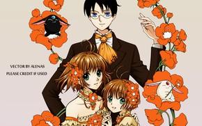 Picture flowers, children, guy, Card Captor Sakura, crossover, xxxHolic