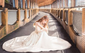 Picture girl, pose, dress, corridor, Asian, sitting, the bride, the room