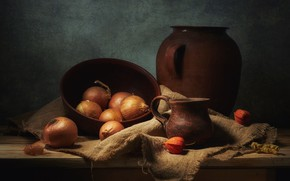 Picture the dark background, table, food, bow, mug, dishes, pot, bowl, still life, items, burlap, physalis, …