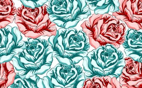 Picture background, roses, red, buds, Roses, turquoise