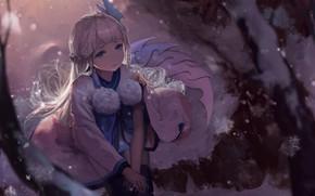 Picture girl, anime, art, sitting, Onmyouji