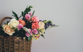 Picture flowers, basket, bouquet