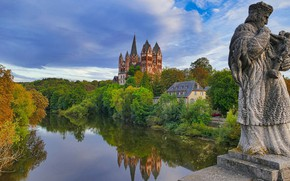 Picture autumn, trees, reflection, river, Germany, Church, statue, Germany, Hesse, Limburg an der Lahn, The Cathedral …