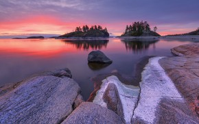 Picture sunset, lake, Russia, Lake Ladoga, Ladoga, Maxim Evdokimov