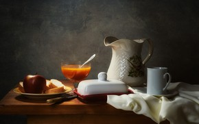 Picture light, the dark background, table, Apple, food, plate, bread, knife, mug, dishes, fabric, pitcher, still …