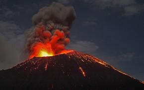 Picture the volcano, Indonesia, the eruption, the island of Anak-Krakatau