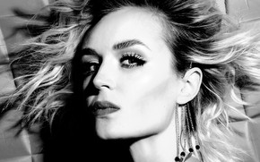 Picture look, pose, model, portrait, makeup, actress, singer, model, black and white, hair, actress, Polina Gagarina, …