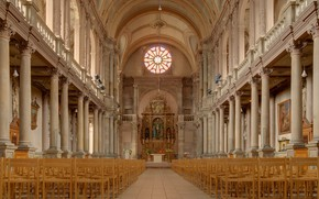 Picture Cathedral, Spain, Interior, The nave, montbeliard, Saint-Maimbœuf church, Eglise Saint-Maimbsuf