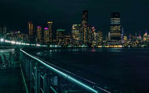 Picture night, lights, reflection, shore, building, New York, skyscrapers, the fence, panorama, railings, USA, the sidewalk, …
