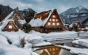 Picture winter, water, snow, trees, landscape, mountains, nature, reflection, people, village, home, Japan, Shirakawa-go, Shirakawa-go