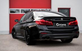 Picture black, BMW, sedan, rear view, G-Power, 2018, 5, 5-series, G30, M550i