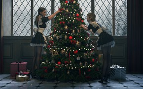 Picture two girls, mansion, apron, window, Christmas toys, maids, gifts, dresses up Christmas tree, by Janedj