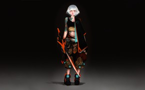 Picture Girl, Minimalism, Girl, Japan, Art, Art, Style, Sword, Ronin, Cyberpunk, Character, by Yogi Gustiana, Yogi …