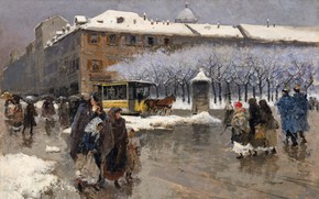 Picture Italian painter, Italian painter, Milan under the snow, Milan under the snow, Moses Bianchi, Oil …