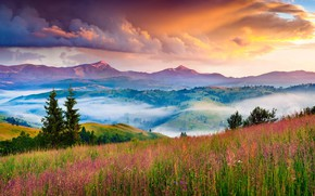 Picture sunset, mountains, fog